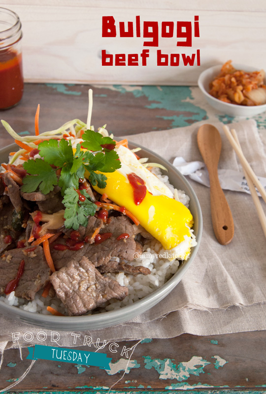 Bulgogi Beef Bowl, a perfect qucik week night meal | in my Red Kitchen