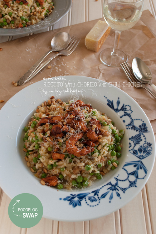 Oven baked risotto with chorizo and chili chicken