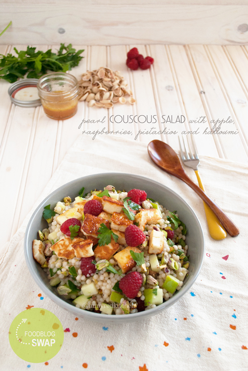 Israeli couscous salad with raspberries and halloumi | in my Red Kitchen