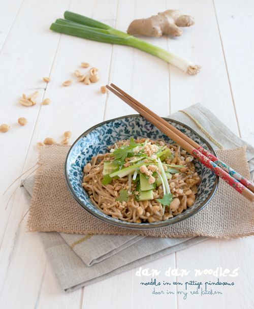 Dan dan noodles, noodles in een pittige pindasaus | in my Red Kitchen