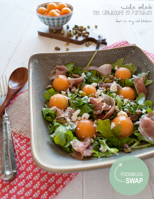 Arugula salad with melon and prosciutto | in my Red Kitchen