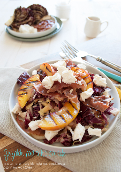 Grilled radicchio salad with prosciutto, goat cheese and sweet nectarines, best combination ever! | in my Red Kitchen