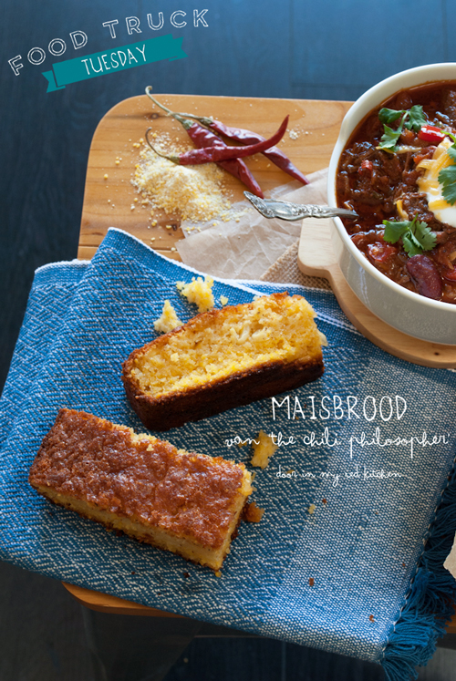 The Chili Philosopher's cornbread, perfect with chili! | in my Red Kitchen #foodtrucktuesday #cornbread #corn #bread