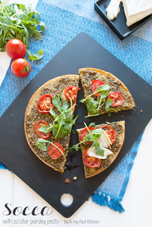 Socca with za'atar parsley pesto | in my Red Kitchen #glutenfree #pizza #chickpeas #chickpeaflour