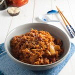 Kimchi fried rice with bacon - an easy and quick meal that's packed with flavor!   in my Red Kitchen #kimchi #korean #bacon #friedrice