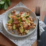 chickpea cumin salad with bacon | in my Red Kitchen #lactation #galactogogues #breastfeeding #salad #chickpeas #chickpea #bacon