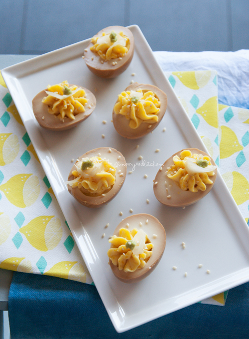 Soy sauce deviled eggs, a nice Easter treat but an amazing everyday snack!   in my Red Kitchen