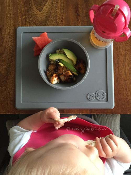 'deconstructed' fish taco bowl voor Stella, als wij fish taco's als avondeten hebben.